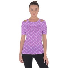 Brick2 White Marble & Purple Colored Pencil Short Sleeve Top