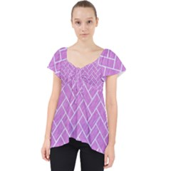 Brick2 White Marble & Purple Colored Pencil Lace Front Dolly Top