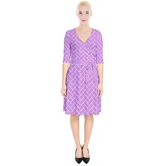Brick2 White Marble & Purple Colored Pencil Wrap Up Cocktail Dress