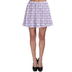 Brick1 White Marble & Purple Colored Pencil (r) Skater Skirt by trendistuff