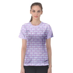 Brick1 White Marble & Purple Colored Pencil (r) Women s Sport Mesh Tee
