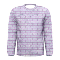 Brick1 White Marble & Purple Colored Pencil (r) Men s Long Sleeve Tee by trendistuff