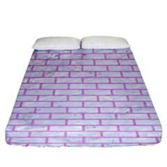 Brick1 White Marble & Purple Colored Pencil (r) Fitted Sheet (king Size)