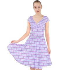 Brick1 White Marble & Purple Colored Pencil (r) Cap Sleeve Front Wrap Midi Dress by trendistuff