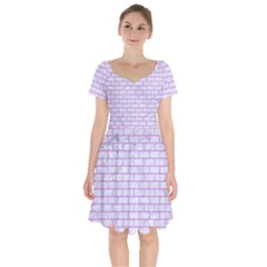 Brick1 White Marble & Purple Colored Pencil (r) Short Sleeve Bardot Dress by trendistuff