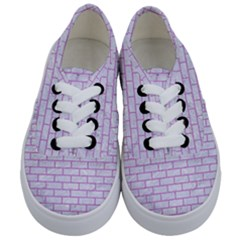 Brick1 White Marble & Purple Colored Pencil (r) Kids  Classic Low Top Sneakers