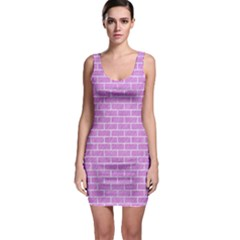 Brick1 White Marble & Purple Colored Pencil Bodycon Dress