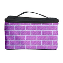 Brick1 White Marble & Purple Colored Pencil Cosmetic Storage Case