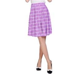 Brick1 White Marble & Purple Colored Pencil A Line Skirt