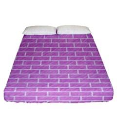 Brick1 White Marble & Purple Colored Pencil Fitted Sheet (queen Size)