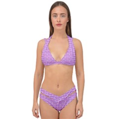 Brick1 White Marble & Purple Colored Pencil Double Strap Halter Bikini Set
