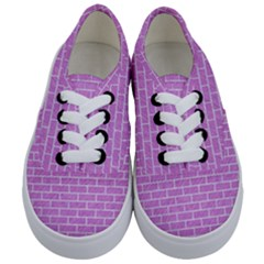 Brick1 White Marble & Purple Colored Pencil Kids  Classic Low Top Sneakers