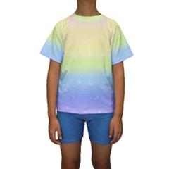 Pastelrainbowgalaxy Kids  Short Sleeve Swimwear
