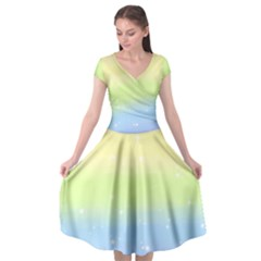 Pastelrainbowgalaxy Cap Sleeve Wrap Front Dress