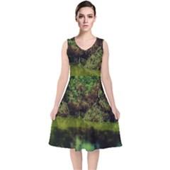 Hot Day In Dallas 33 V Neck Midi Sleeveless Dress