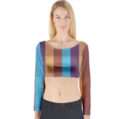 Background Desktop Squares Long Sleeve Crop Top