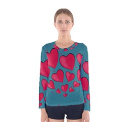 Background Desktop Hearts Heart Women s Long Sleeve Tee