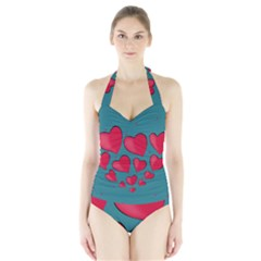 Background Desktop Hearts Heart Halter Swimsuit