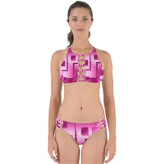 Pink Figures Rectangles Squares Mirror Perfectly Cut Out Bikini Set
