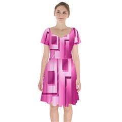 Pink Figures Rectangles Squares Mirror Short Sleeve Bardot Dress