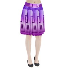 Purple Figures Rectangles Geometry Squares Pleated Skirt