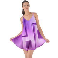 Purple Figures Rectangles Geometry Squares Love The Sun Cover Up