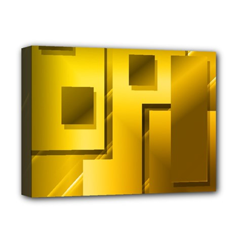 Yellow Gold Figures Rectangles Squares Mirror Deluxe Canvas 16  X 12