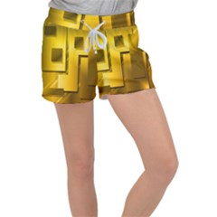 Yellow Gold Figures Rectangles Squares Mirror Women s Velour Lounge Shorts