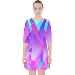 Squares Color Squares Background Pocket Dress