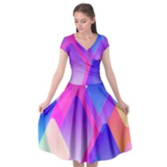 Squares Color Squares Background Cap Sleeve Wrap Front Dress