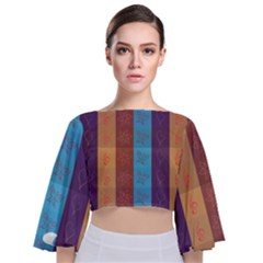 Background Desktop Squares Tie Back Butterfly Sleeve Chiffon Top