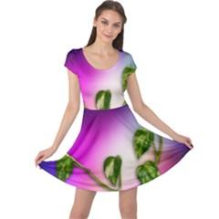 Leaves Green Leaves Background Cap Sleeve Dress