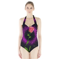Rosa Black Background Flash Lights Halter Swimsuit