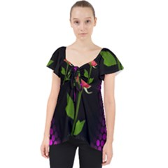 Rosa Black Background Flash Lights Lace Front Dolly Top
