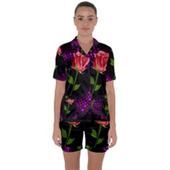 Rosa Black Background Flash Lights Satin Short Sleeve Pyjamas Set