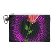 Rosa Black Background Flash Lights Canvas Cosmetic Bag (large) by Sapixe