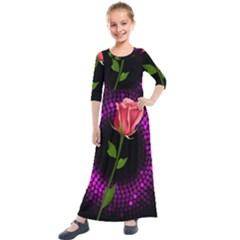 Rosa Black Background Flash Lights Kids  Quarter Sleeve Maxi Dress
