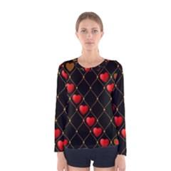 Background Texture Texture Hearts Women s Long Sleeve Tee