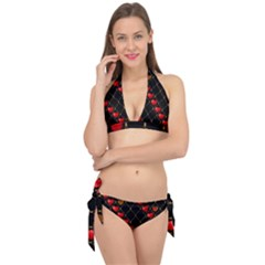 Background Texture Texture Hearts Tie It Up Bikini Set
