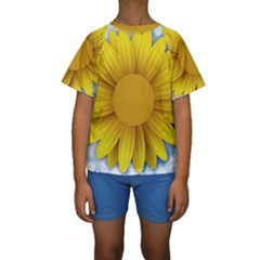 Plant Flower Flowers Bokeh Sky Kids  Short Sleeve Swimwear