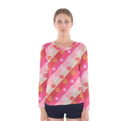Background Desktop Pink Sun Stars Women s Long Sleeve Tee