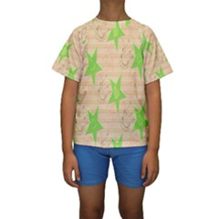 Background Desktop Beige Kids  Short Sleeve Swimwear