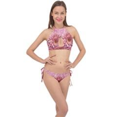 Background Texture Flower Petals Cross Front Halter Bikini Set