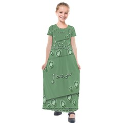 Card I Love You Heart Romantic Kids  Short Sleeve Maxi Dress
