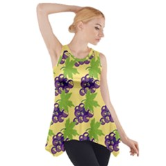 Grapes Background Sheet Leaves Side Drop Tank Tunic