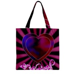 Background Texture Reason Heart Zipper Grocery Tote Bag