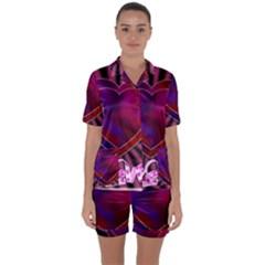 Background Texture Reason Heart Satin Short Sleeve Pyjamas Set