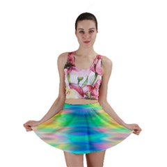 Wave Rainbow Bright Texture Mini Skirt