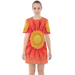 Flower Plant Petal Summer Color Sixties Short Sleeve Mini Dress