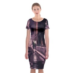 Texture Abstract Background City Classic Short Sleeve Midi Dress